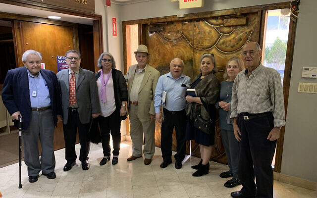 Gena Gutman, second from right, together with other Cuban Jews who are involved with the congregation. (Josefin Dolsten/ JTA)