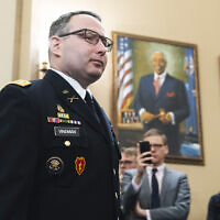 Lt. Col. Alexander Vindman arrives to testify at the House Intelligence Committee hearing on the impeachment inquiry of US President Trump in Washington, November 19, 2019. (Tom Williams/CQ-Roll Call, Inc via Getty Images via JTA)