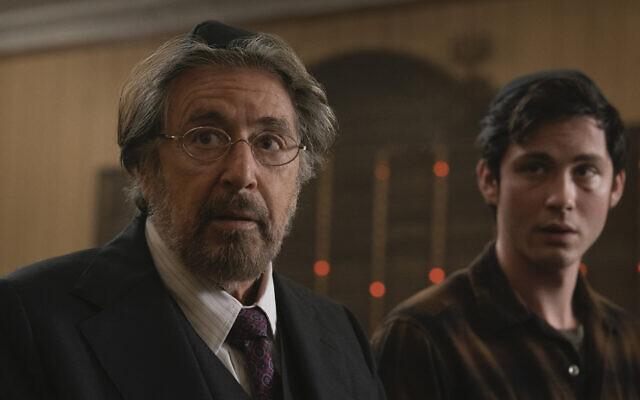 Al Pacino, left, and Logan Lerman, right, are Jews out for revenge in Amazon Studios' 'Hunters.' (Christopher Saunders via JTA)