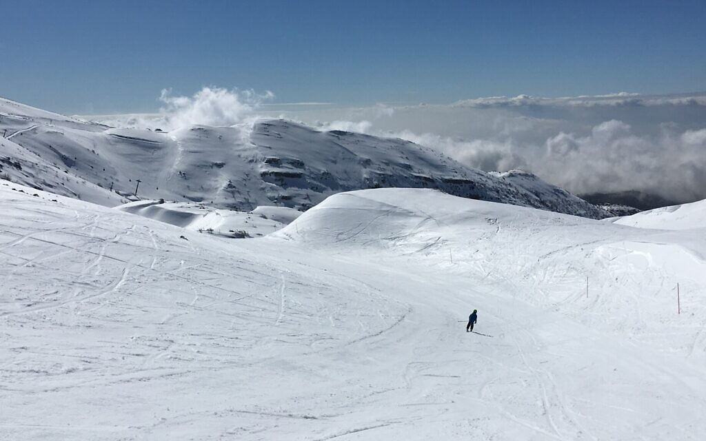 The top of the Hermon ski area, at 6,600-foot elevation, offers expansive views of the valley below. (Uriel Heilman/ JTA)