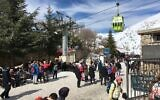 Visitors at the Hermon, Israel's only ski area. (Uriel Heilman/ JTA)