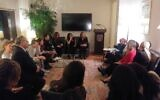 A question-answer session was part of 'couples therapy' for Israeli and American journalists, and diplomatic staff, at a 'Valentine's Day' event for Israeli and Diaspora Jewry at the home of the consul general in New York. (Office of the Consul General of Israel)