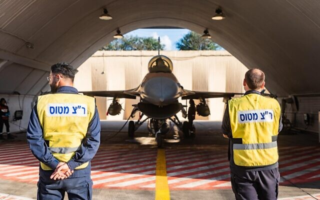 An F-16 fighter jet that was damaged by flooding during a rainstorm in January is seen in its hangar after it returned to service in this undated photograph released on February 3, 2020. (Israel Defense Forces)
