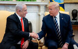 US President Donald  Trump participates in an expanded bilateral meeting with Israeli Prime Minister Benjamin Netanyahu, January 27, 2020, in the Oval Office of the White House. (Official White House Photo by D. Myles Cullen)
