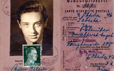 Berlin identity card dated October 1943 found by Ariana Neumann as a girl. It had a photo of her father Hans Neumann as a young man on it, but the name stated was Jan Šebesta. (Courtesy of Ariana Neumann)