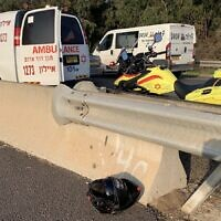 Ambulances at the scene of an accident in which a motorcyclist was killed, February 17, 2020. (Courtesy Magen David Adom)