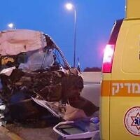The scene of a crash between a minibus and a truck at Qastina Junction near Kiryat Malachi on February 19, 2020. (Magen David Adom)