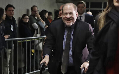 Harvey Weinstein leaves a Manhattan courtroom during his rape trial in New York, February 7, 2020. (Richard Drew/AP)