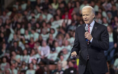 Democratic presidential candidate and former vice president Joe Biden speaks during the McIntyre-Shaheen 100 Club Dinner, February 8, 2020, in Manchester, New Hampshire. (AP Photo/Mary Altaffer)