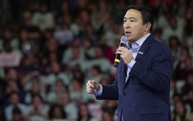Democratic presidential candidate businessman Andrew Yang speaks during the McIntyre-Shaheen 100 Club Dinner, February 8, 2020, in Manchester, New Hampshire. (AP Photo/Mary Altaffer)