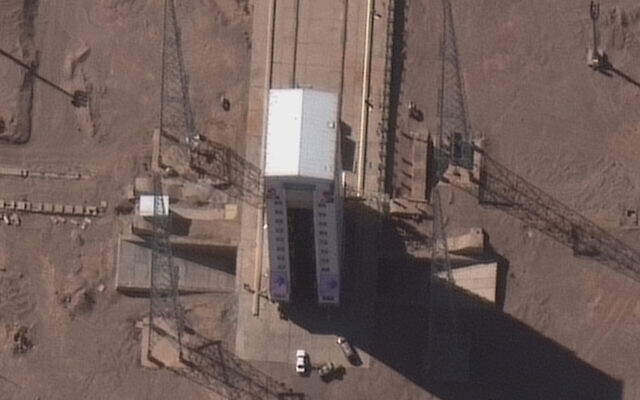 This satellite image from Maxar Technologies shows preparations at a rocket launch pad at the Imam Khomeini Space Center in Iran's Semnan province, February 4, 2020. (Maxar Technologies via AP)