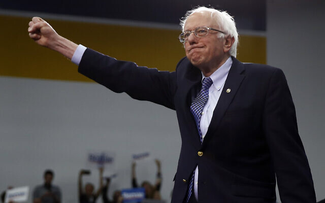 Democratic presidential candidate Sen. Bernie Sanders, Independent-Vermont., arrives to speak to supporters at a primary night election rally in Manchester, New Hampshire, February 11, 2020. (Matt Rourke/AP)