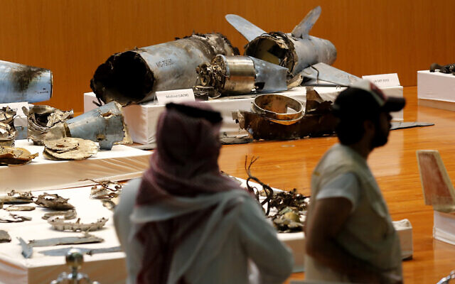 Illustrative: The Saudi military displays what they say are an Iranian cruise missile and drones used in recent attacks on its oil industry at Saudi Aramco's facilities in Abqaiq and Khurais, during a press conference in Riyadh, Saudi Arabia, September 18, 2019. (AP Photo/Amr Nabil, File)