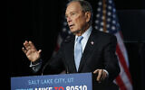 US Democratic presidential candidate and former New York City Mayor Mike Bloomberg speaks during a campaign event, February 20, 2020, in Salt Lake City. (AP Photo/Rick Bowmer)