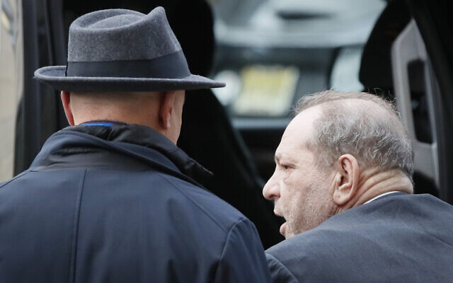 Harvey Weinstein leaves a Manhattan courthouse during his rape trial, February 20, 2020, in New York. (AP Photo/John Minchillo)