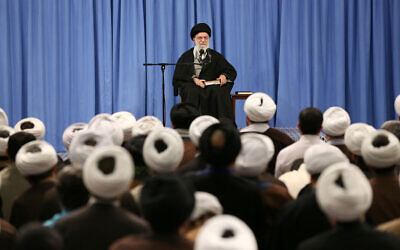 In this photo released by an official website of the office of the Iranian supreme leader, Supreme Leader Ayatollah Ali Khamenei speaks in a meeting in Tehran, Iran, February 23, 2020. (Office of the Iranian Supreme Leader via AP)