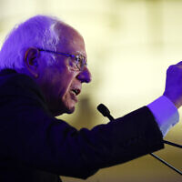 Democratic presidential candidate Sen. Bernie Sanders, Indepedent-Vermont, speaks during First in the South Dinner, in Charleston, South Carolina, February 24, 2020. (Matt Rourke/AP)