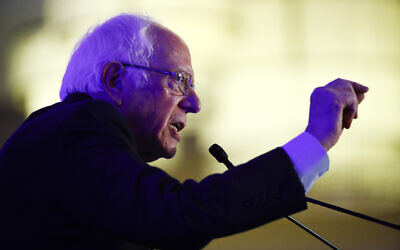 Democratic US presidential candidate Sen. Bernie Sanders speaks during First in the South Dinner, in Charleston, South Carolina, February 24, 2020. (Matt Rourke/AP)