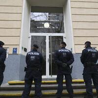 Illustrative: Police in front of a school in Vienna, Austria, February 26, 2020. (AP Photo/Roland Zak)