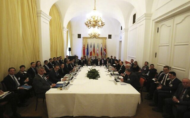 European and Iranian diplomats meet as part of closed-door nuclear talks with Iran in Vienna, Austria, February 26, 2020. (AP Photo/Roland Zak)