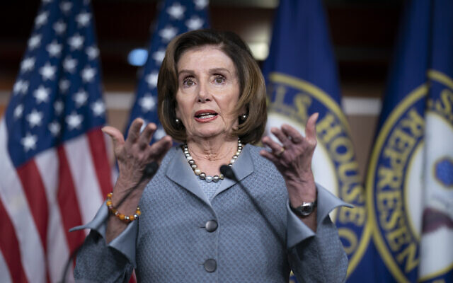 Speaker of the House Nancy Pelosi, Democrat-California, speaks during a news conference on Capitol Hill in Washington, February 27, 2020. (J. Scott Applewhite/AP)