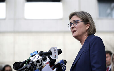 Santa Clara County Public Health Department Director Dr. Sara Cody speaks during a news conference in San Jose, Calif., on Friday, Feb. 28, 2020. (Anda Chu/Bay Area News Group via AP)