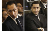 This combination of photos shows sons of then Egyptian President Hosni Mubarak, Gamal Mubarak, left, and Alaa Mubarak, attending a Christmas Eve Mass at the Coptic cathedral in Cairo, Egypt, January 6, 2011. (AP Photo/File)