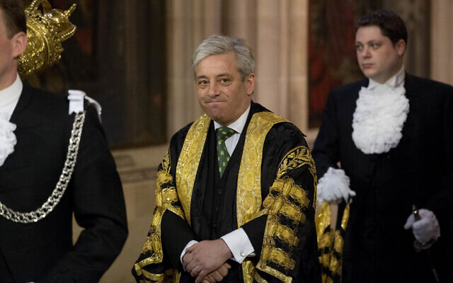 Then-Britain's Speaker of the House of Commons John Bercow at the State Opening of Parliament at the Palace of Westminster in London, June 4, 2014. (Matt Dunham/AP)