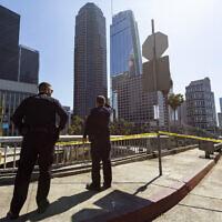 Illustrative: Los Angeles Police officers, Septtember 17, 2019. (Damian Dovarganes/AP)