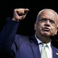 Secretary general of the Palestine Liberation Organization Saeb Erekat speaks at the J Street National Conference,  in Washington, October 28, 2019. (Jacquelyn Martin/AP)