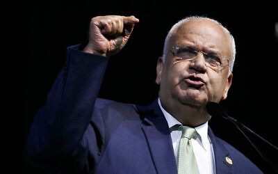 Palestine Liberation Organization Secretary-General Saeb Erekat speaks at the J Street National Conference, in Washington, October 28, 2019. (Jacquelyn Martin/AP)