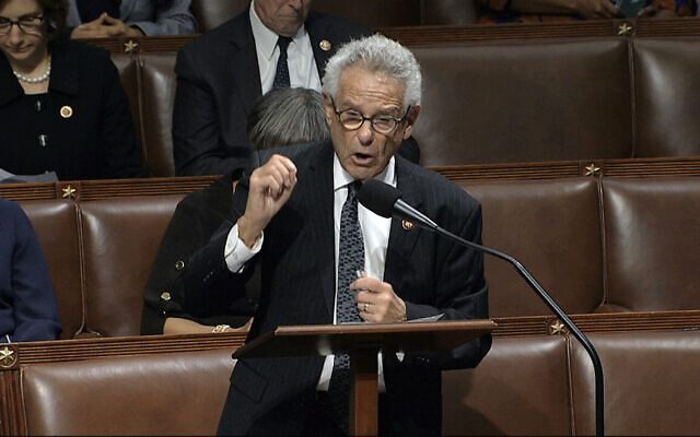 Rep. Alan Lowenthal, D-Calif., speaks as the House of Representatives debates the articles of impeachment against President Donald Trump at the Capitol in Washington, Wednesday, Dec. 18, 2019. (House Television via AP)