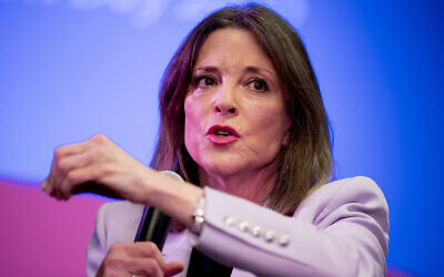 Then-Democratic presidential candidate Marianne Williamson speaks at a the Faith, Politics and the Common Good Forum at Franklin Jr. High School, in Des Moines, Iowa, January 9, 2020. (Andrew Harnik/AP)