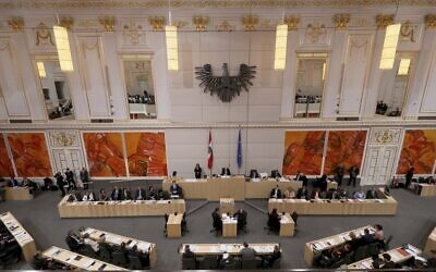 The Austrian parliament session in Vienna, Austria, January 10, 2020. (Ronald Zak/AP)