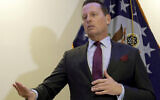 Richard Grenell addresses the media during a press conference in Berlin, Germany, Monday, Jan. 20, 2020. (AP/Michael Sohn)