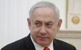 Prime Minister Benjamin Netanyahu listens to Russian President Vladimir Putin during their meeting in the Kremlin in Moscow, Russia, January 30, 2020. (Maxim Shemetov/Pool Photo via AP)