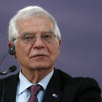European Union foreign policy chief Josep Borrell during a press conference in Belgrade, Serbia, January 31, 2020. (Darko Vojinovic/AP)