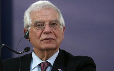 European Union foreign policy chief Josep Borrell during a press conference in Belgrade, Serbia, January 31, 2020. (Darko Vojinovic/AP)