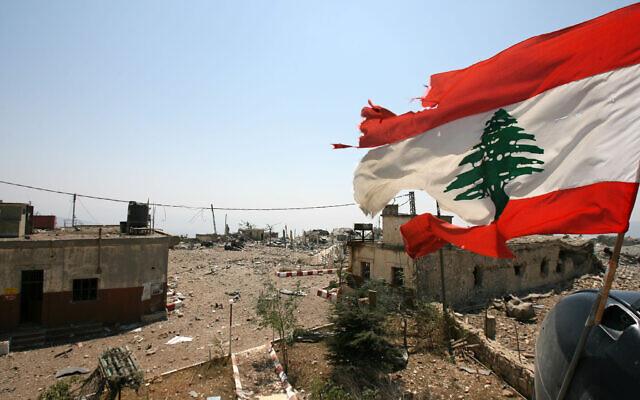 A Lebanese flag flies over Khiam prison, in the southern town of Khiam, Lebanon, August 16, 2006. (Nasser Nasser/AP)