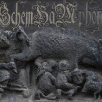 "In this photo from January 14, 2020, the so-called ""Judensau,"" or ""Jew pig,"" sculpture is displayed on the facade of the Stadtkirche (Town Church) in Wittenberg, Germany. (AP Photo/Jens Meyer, File )"