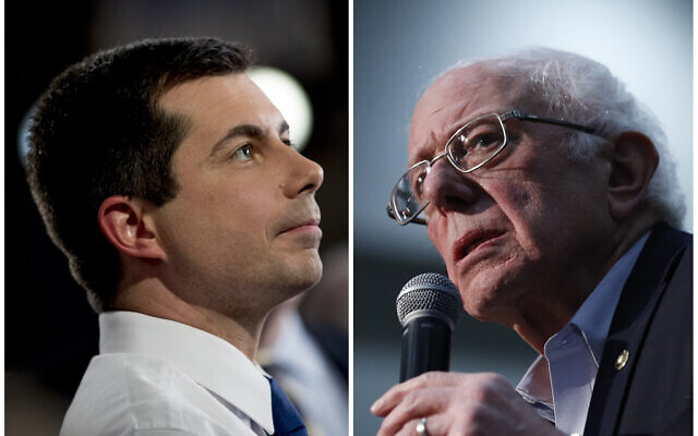 This combination of Jan. 26, 2020, photos shows at left, Democratic presidential candidate former South Bend, Indiana, Mayor Pete Buttigieg on Jan. 26, 2020, in Des Moines, Iowa; and at right Democratic presidential candidate Sen. Bernie Sanders in Sioux City, Iowa (AP Photo)
