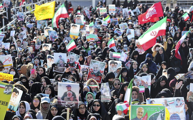 Iranians attend an annual rally at Azadi (Freedom) Square celebrating 41st anniversary of Islamic Revolution, in Tehran, Iran on February 11, 2020. (AP Photo/Ebrahim Noroozi)