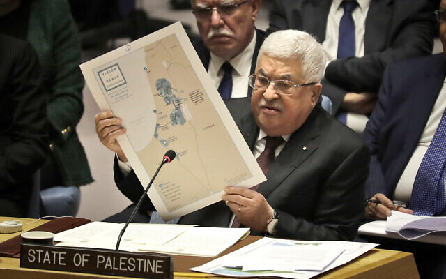 Palestinian Authority President Mahmoud Abbas during a Security Council meeting at United Nations headquarters, February 11, 2020. (AP Photo/Seth Wenig)