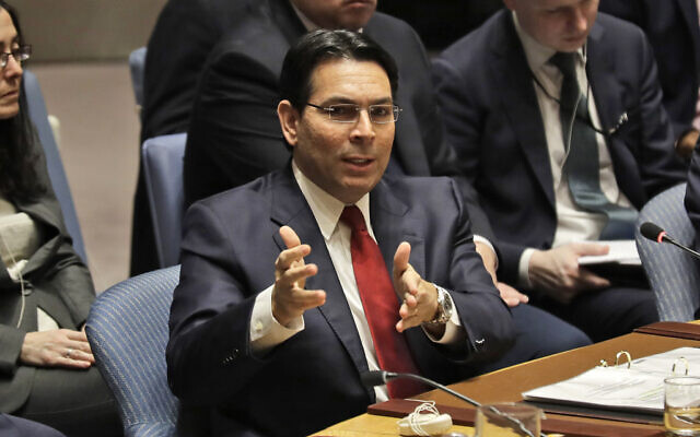 Israeli ambassador to the United Nations Danny Danon speaks during a Security Council meeting at United Nations headquarters on, February 11, 2020. (AP Photo/Seth Wenig)