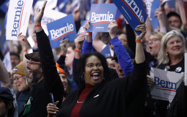 Supporters cheer at a primary night election rally for Democratic presidential candidate Sen. Bernie Sanders, I-Vt., in Manchester, N.H., Tuesday, Feb. 11, 2020. (AP/Matt Rourke)