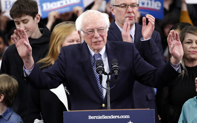 Democratic presidential candidate Sen. Bernie Sanders, I-Vt., speaks to supporters at a primary night election rally in Manchester, N.H., Tuesday, Feb. 11, 2020. (AP/Pablo Martinez Monsivais)