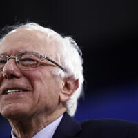 Democratic presidential candidate Sen. Bernie Sanders, I-Vt., speaks to supporters at a primary night election rally in Manchester, New Hampshire on February 11, 2020. (AP Photo/Matt Rourke)