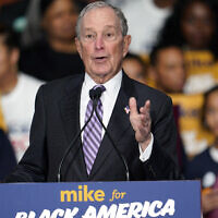 "Democratic presidential candidate and former New York City Mayor Michael Bloomberg speaks during his campaign launch of ""Mike for Black America,"" at the Buffalo Soldiers National Museum, February 13, 2020, in Houston. (AP Photo/David J. Phillip)"