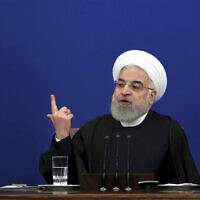 Iran's President Hassan Rouhani gives a press conference in Tehran, Iran, February 16, 2020. (Ebrahim Noroozi/AP)