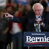 Democratic presidential candidate Sen. Bernie Sanders makes a point during a campaign stop on February 16, 2020, in Denver. (AP Photo/David Zalubowski)